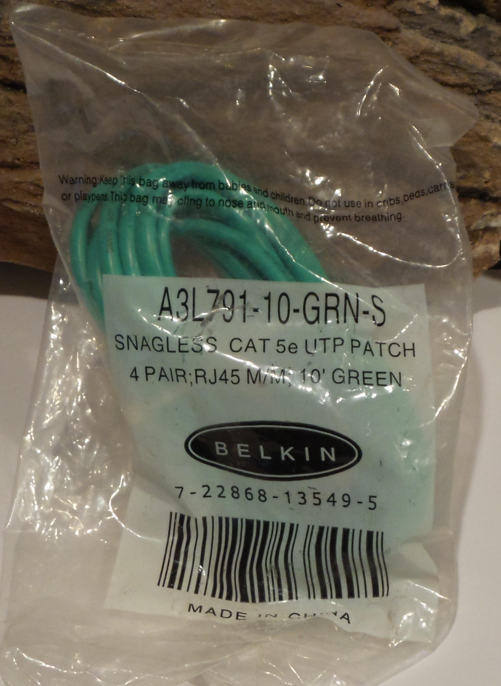 Belkin Snagless CAT 5e UTP Green Ethernet 10FT